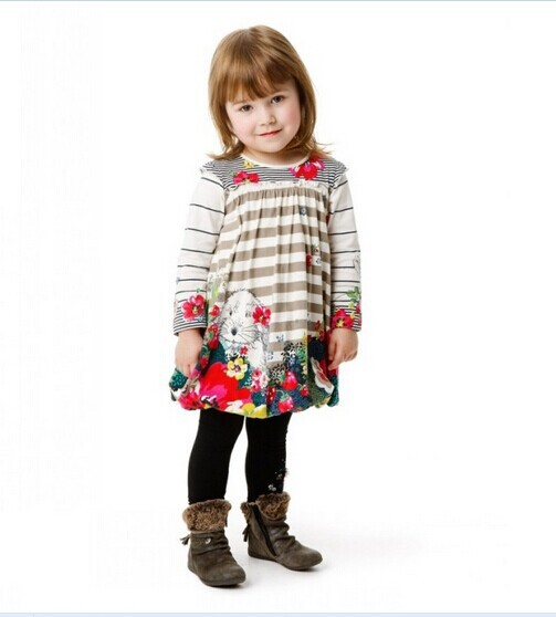 Hot 2014 new High quality spring autumn Catimini brand kids cute flowers print dress baby girls