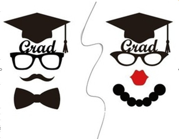8pcs/set Graduate Photo Booth Props Mustache Glasses Hat