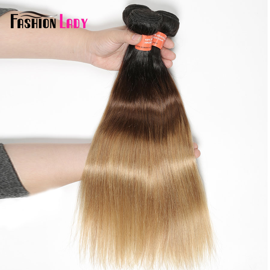 FASHION LADY Pre Colored Brazilian Hair Weave Bundles Ombre 1b/4/27 Straight Bundles Human Hair 1/3/4 Bundle Per Pack Non Remy-in Hair Weaves from Hair Extensions & Wigs