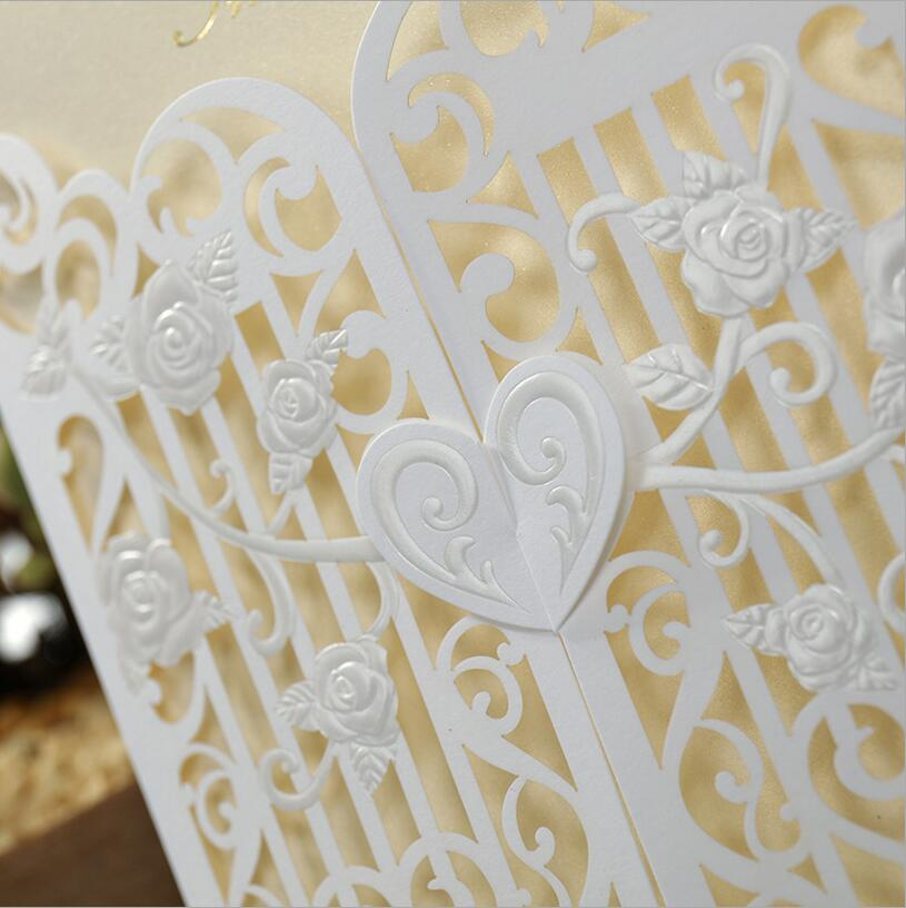 50 Sets Laser Cut Wedding Invitations Cards Greeting Cards Pop Up ...