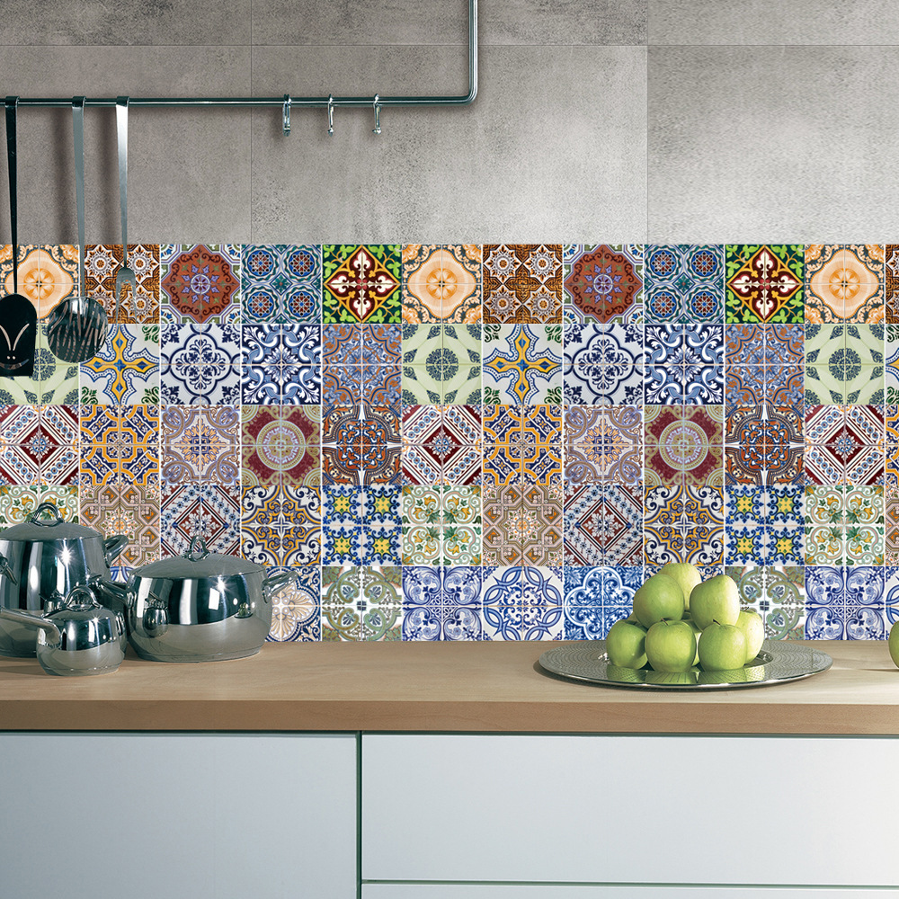 Pcs Set Arabic Style Tile Floor Sticker Waterproof Pvc Wall For Kitchen Bathroom Home