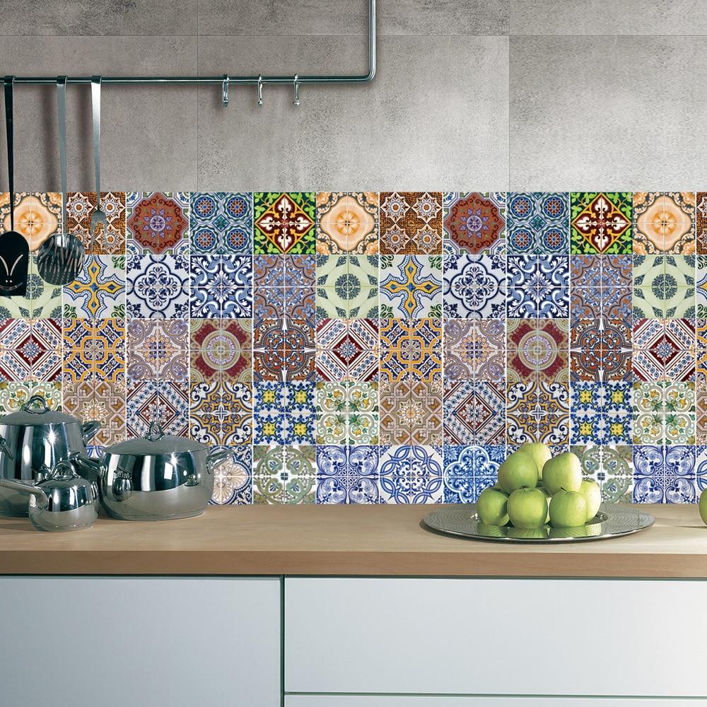 5pcs Set Arabic Style Tile Floor Sticker Waterproof Pvc