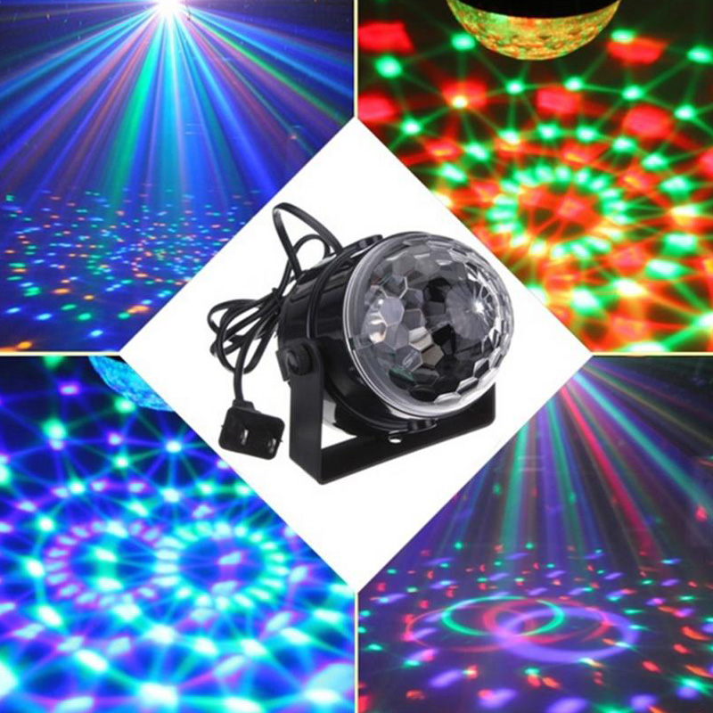 RGB effect Stage Lighting 5w Crystal Auto Sound Magic Ball Disco Light dmx star laser party DJ club elf Lamp US/EU Plug