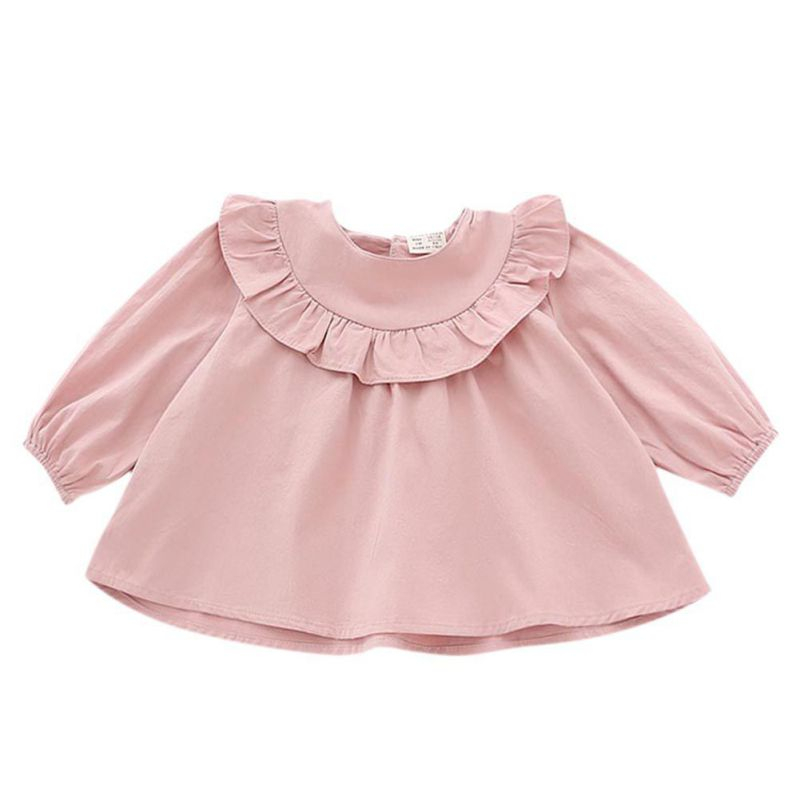 2017 New Arrivals Spring Autumn Baby Girls Blouses Long Sleeve Lotus Collar Tops New Designs Kids Girl Cute Tops 3 Colors