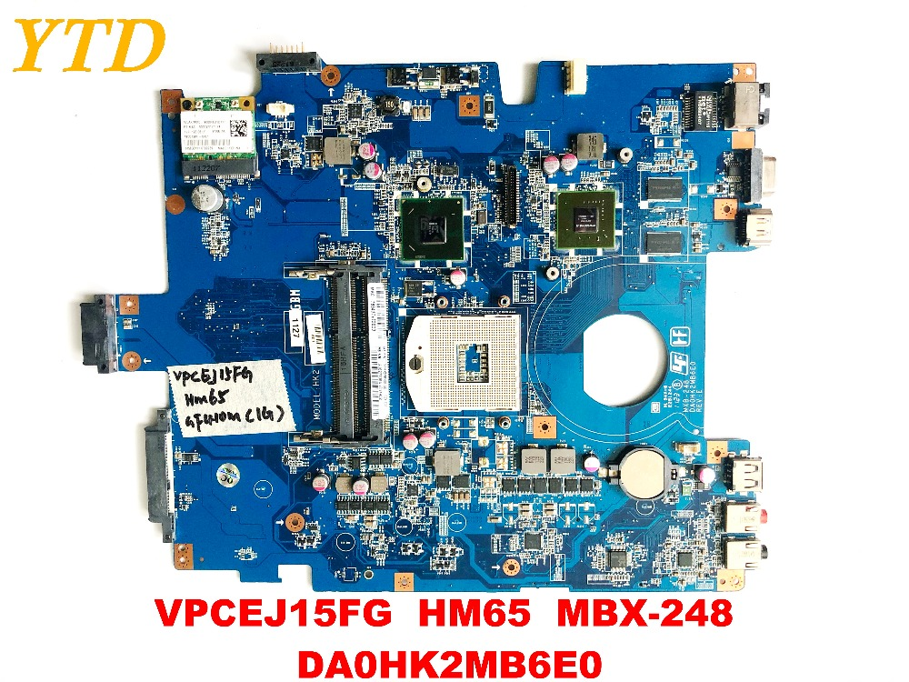 Original For SONY VPCEJ15FG Laptop Motherboard  HM65  MBX-248   DA0HK2MB6E0 Tested Good Free  Shipping