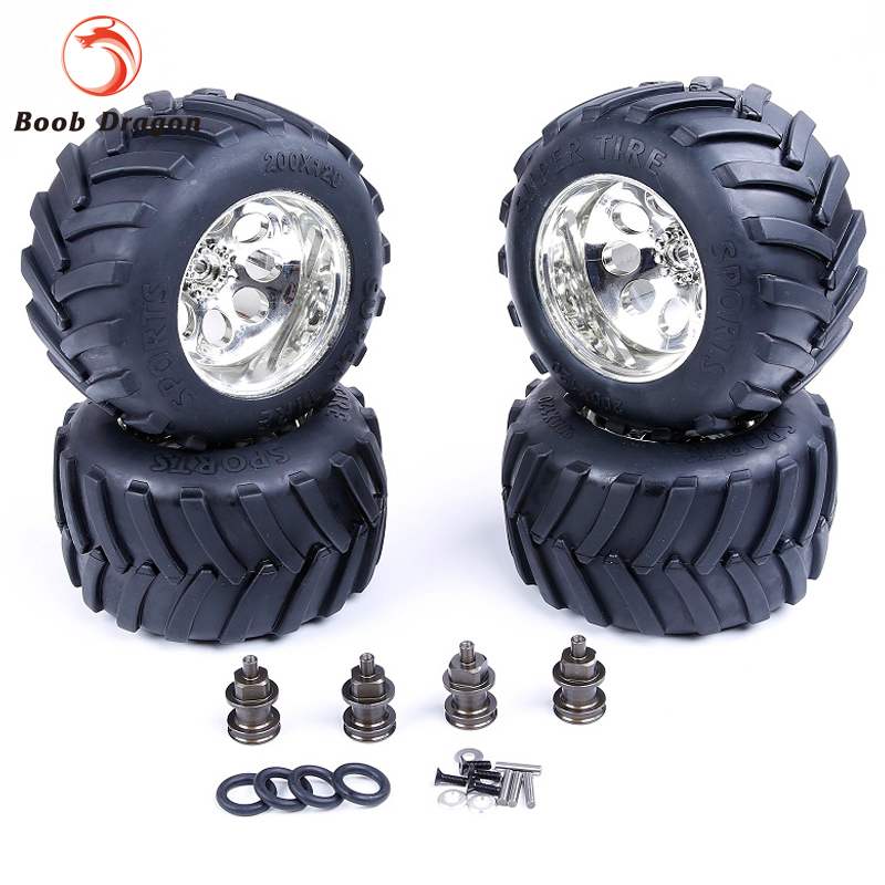 Losi Modified Bigfoot tire assembly kit for 1/5 HPI Losi 5ive T Rovan LT King Motor X2 billet rear hub carriers for losi 5ive t