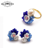 GLSEEVO 925 Sterling Silver Original Handmade Natural Fresh Water Baroque Pearl Ring Earrings Set For Women Jewelry Sets GS0009