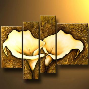 ჱ4 piece Handmade Canvas Painting Mysterious Callas I-Modern Canvas ...