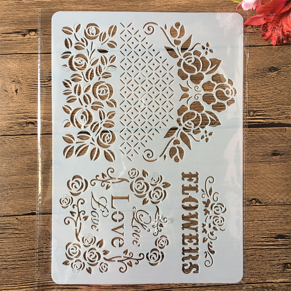A4 Love Flowers Edge DIY Craft Layering Stencils Painting Scrapbooking Stamping Embossing Album Paper Card Template