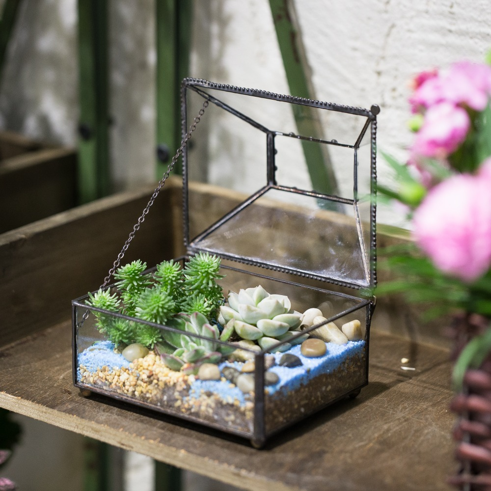 Tabletop DIY Small Geometric Decorative Flower Pot Bonsai Pot Polyhedron Glass Terrarium Box Succulent Plants Planter with Cover