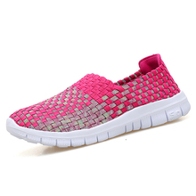 2018 zapatos tejidos de primavera Vintage zapatos planos transpirables boca poco profunda mocasines perezosos antideslizantes cómodos zapatos planos hechos a mano