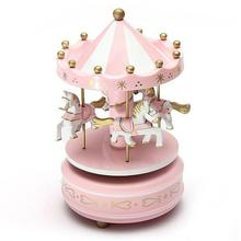 Wooden Merry-Go-Round Carousel Music Box for Kids Toys Wedding Birthdays Gift Wind-Up Horse Fairground Musical Box