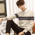 Siriusha Мужской свитер моды о-образным вырезом лоскутное утолщение тепловой плюс размер свитер мужской свитер