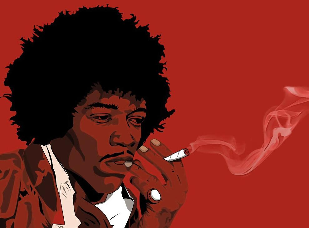 Jimi Hendrix Art Smoking Rock Music Printing Best Sale Classical Home Decor Poster Size 50x75cm Canvas Print Free Shipping In Painting Calligraphy From