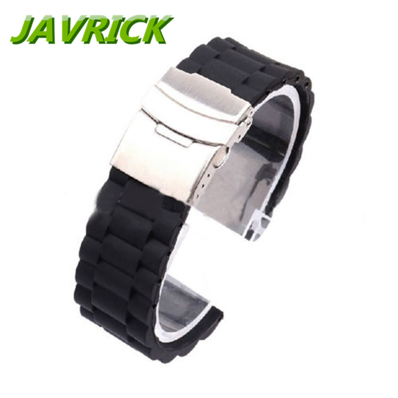 где купить Black Silicone Rubber Watch Strap Band Deployment Buckle Waterproof 20mm/22mm по лучшей цене