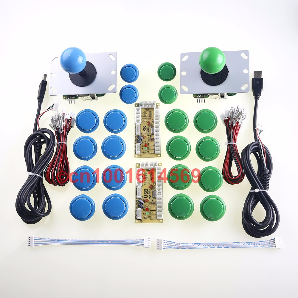 Arcade Game DIY Parts USB Pc Joystick for Mame Game DIY (2 USB Encoder + 2 Joystick + 20 Push Button) Color Blue + Green Kits usb mame