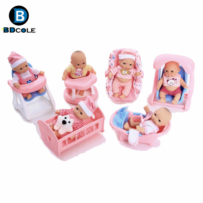 BDCOLE 6 in 1 5inches Super Fashion Soft Vinyl Silicone Fun Play Newborn Baby Doll with