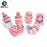 BDCOLE 6Pcs Lot 5inches Super Fashion Soft Vinyl Silicone Fun Play Newborn Baby Doll With 6
