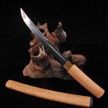 TANTO SWORDS Handmade Japanese Samurai SHIRASAYA Sword T10 steel+clay tempered bamboo Saya& Bomboo Handle Collecation Katana