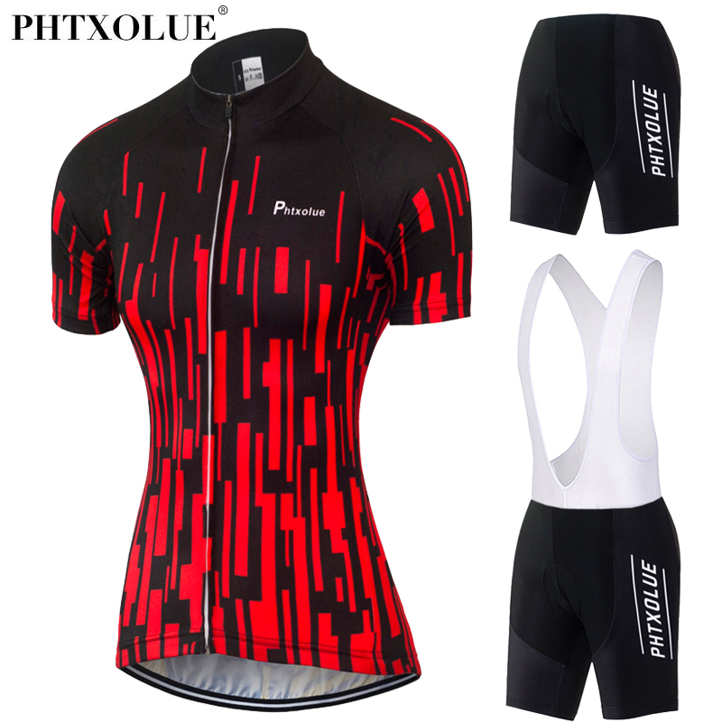 Phtxolue Women Team Cycling Clothing 2017 Black Red Breathable Bike Bicycle Wear Maillot Ciclismo Jersey Cycling Set QY0340 cheji breathable bike jersey short set cheap ladies cycling wear jersey ciclismo 2017 s xxl pro team cycling clothing women