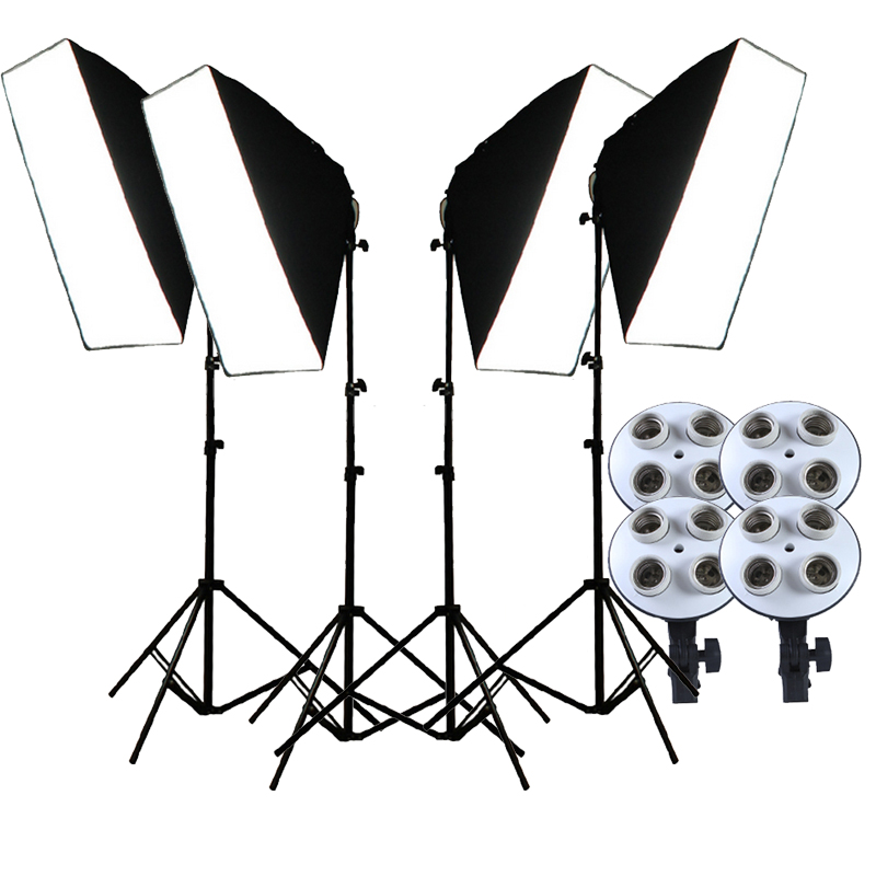 Photo Studio Softbox 4 in 1 E27 Lamp Holder 50 70cm Diffuser 2M Light Stand Photographic