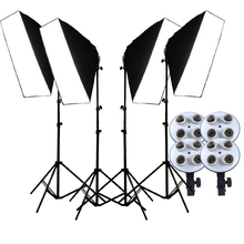 Photo Studio Softbox 4-in-1 E27 Lamp Holder 50*70cm Diffuser 2M Light Stand Photographic Continuous Lighting LED Lamps for video capsaver 2 in 1 kit led video light studio photo led panel photographic lighting with tripod bag battery 600 led 5500k cri 95