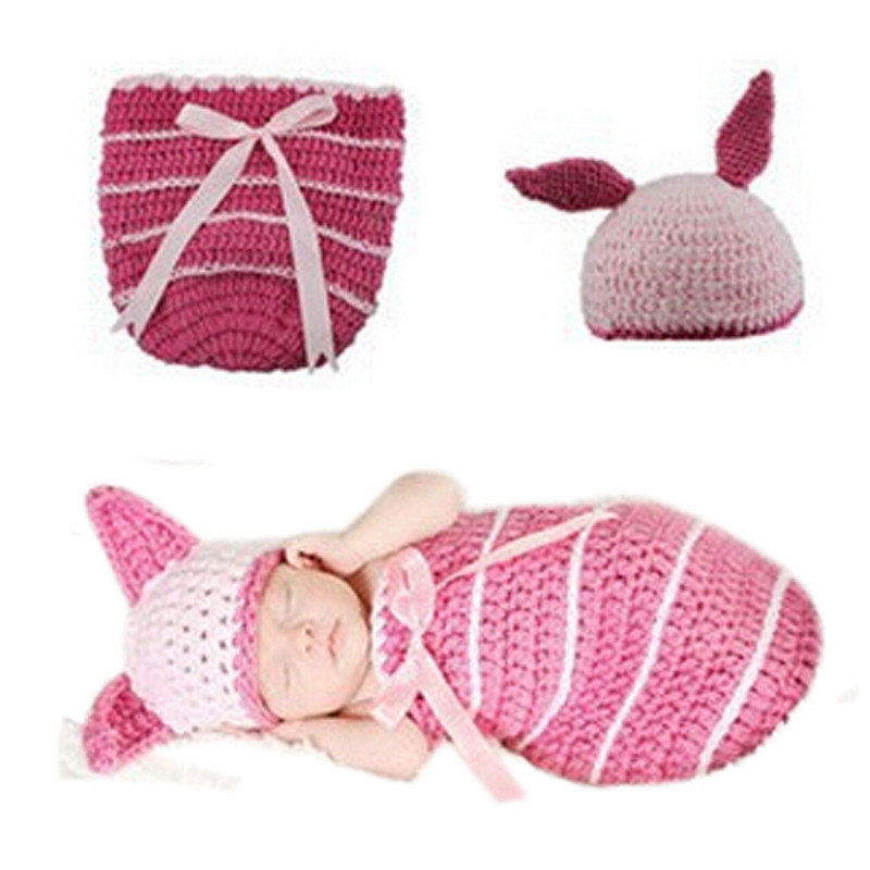 Lovely Newborn Baby Pink Bunny Sleep Bag Knit Hat Costume Photography Prop Suit Newborn Sleeping Bag Baby Sleep Sack ...