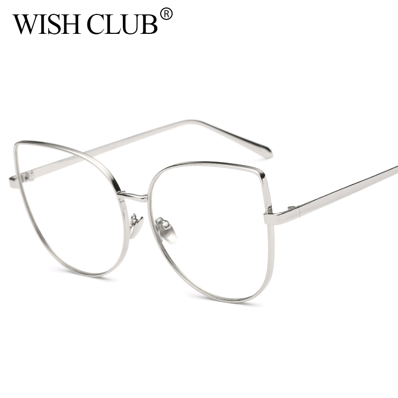 WISH CLUB Cat Eyeglasses For Women\'s Retro Clear Lens Glasses Metal ...
