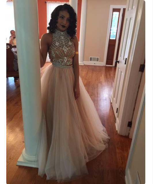 Hand made stones beaded lavender tulle 2 piece prom dresses long halter  neck sexy champagne dress fff865c77