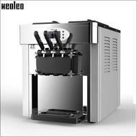 Xeoleo Commercial Soft Ice Cream Maker Three Heads Ice Cream Machine 220V 2400W 28 36L H