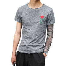Fashion Men's T-shirt Short Sleeve Summer Rose Embroidery T-Shirt Blouse Students Tee Flowers Shirt O-Neck Cotton Funny Clothing