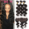 Peruvian Virgin Hair With Closure Ear To Ear Lace Lace Frontal Closure With Bundles Human Hair Peruvian Body Wave With Closure