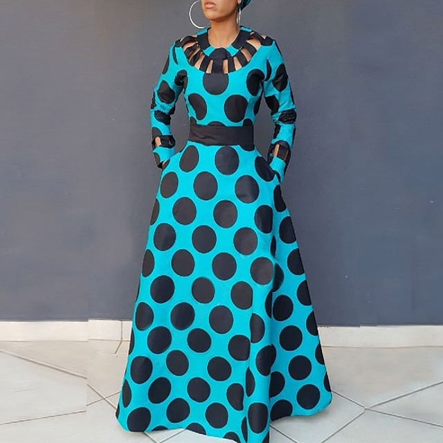 8611f74b6c Women Vintage Polka Dot Dress Autumn Winter Print Tunic Pocket Hollow Out  African Party Plus Size Expansion Long Maxi Dress-in Dresses from Women s  Clothing ...