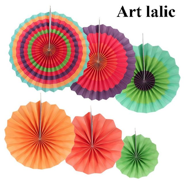 Diy Handcraft Paper Fan Stripe Dot Round Wheel Disc Party Wall Decor Kindergarten Kids Birthday Toys