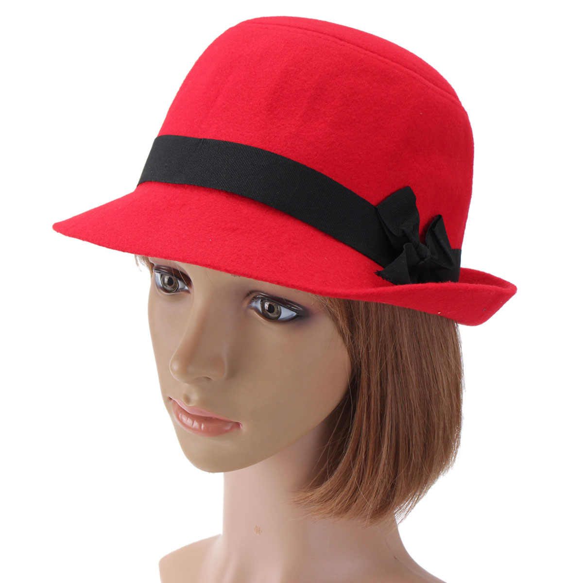 77ed05cccbf Fall Winter Women Hard Fedoras Vintage Fashion Polyeste Solid Hat Trendy Bowler  Derby Hats Felt Bowknot