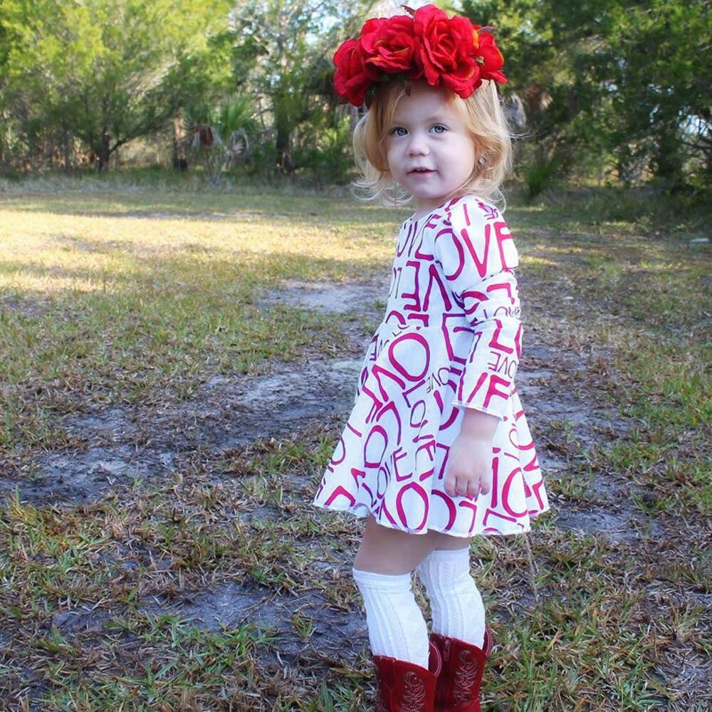 2017 dress girl Toddler Baby Kids Girls Letter Print Dress Fashion Long Sleeve Clothe Outfits kids dress girls set spring autumn
