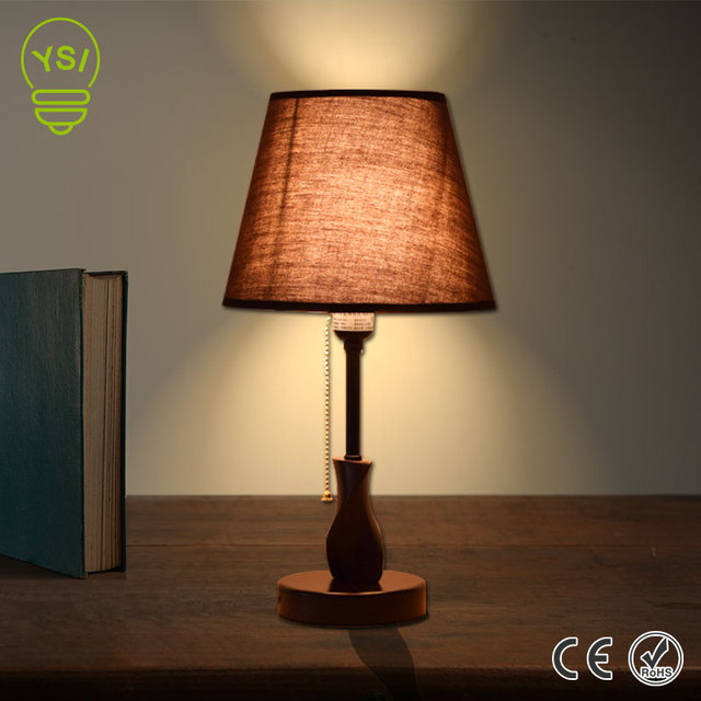 Simple Style Wooden Desk Lamp E27 Dimmable Linen Testile Table Lamp Shade DIY  Desk Light For Study Room Bedroom Decoration