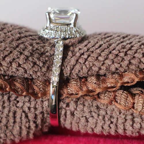 Spiffing au750 ouro jóias 2ct almofada corte 7*7mm teste moissanite anel positivo sólido 18 k 750 branco ouro acessório de casamento