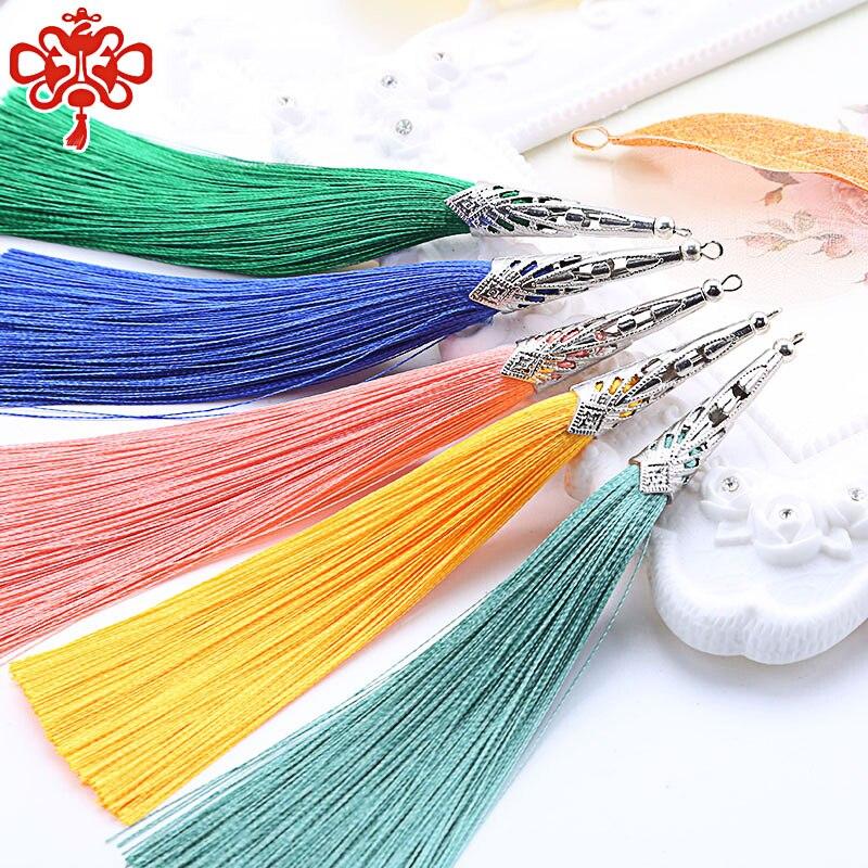 2PCS 14cm Cone alloy cap Silk Tassel fringe sewing bang tassel trim decorative Curtain Tassel for Craft Jewelry DIY Graft Making