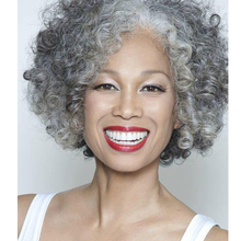 Short Curly Grey And White Wig Synthetic Wigs For Black White Women African American Short Curly