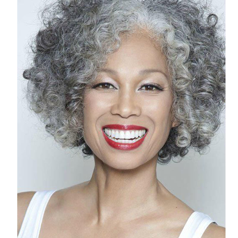 Short Curly Grey And White Wig font b Synthetic b font Wigs For Black White Women