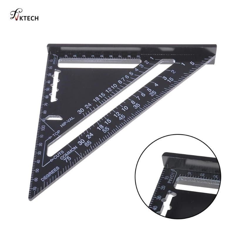 Hot 7/12inch Aluminum Alloy Metric Triangle Angle Ruler Squares for Woodworking Speed Square Angle Protractor Measuring Tools