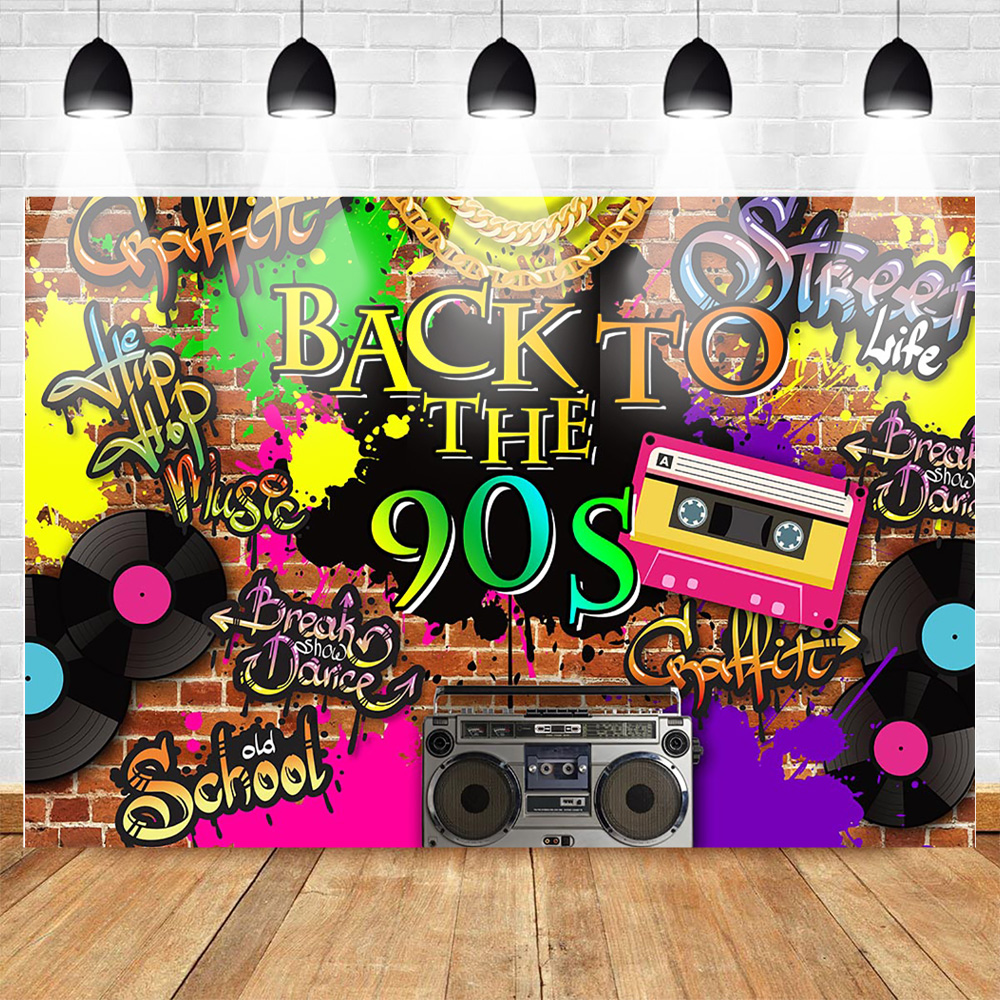 Mehofoto Back to 90s Themed Party Backdrop Graffiti Hip Hop Music Party Photo Background Old School Brick Wall Break Backdrop