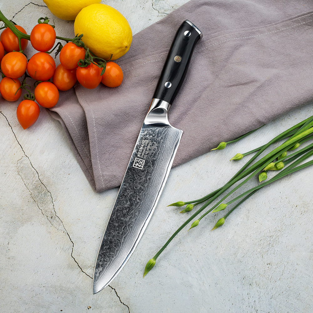 KEEMAKE 3 PCS ชุดมีดครัว Santoku Chef ยูทิลิตี้มีดญี่ปุ่น VG10 ดามัสกัสเหล็กมีดโกน Sharp มีดทำอาหาร G10 Handle-ใน ชุดมีด จาก บ้านและสวน บน   2