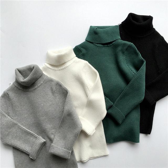 Ropa infantil de invierno jersey de cuello alto niño bebé suéter suéter básico térmica