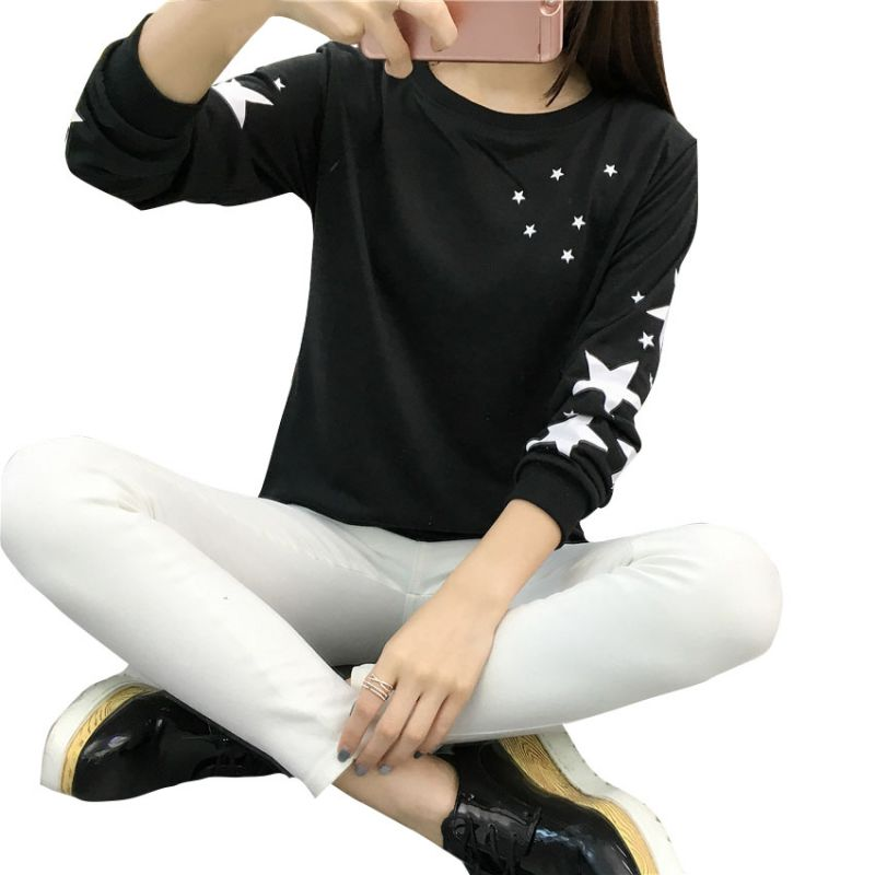 Damessweater met warme sweatshirts Borduurwerk Sterpatroon Katoen - Dameskleding