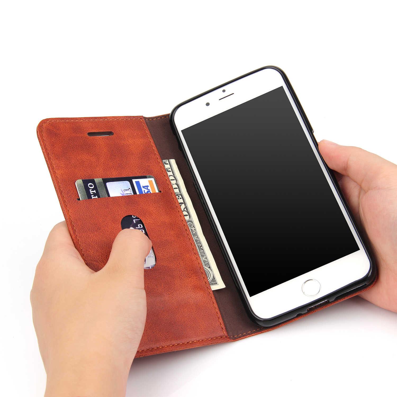 5S 6S kabuk için Apple iPhone 5 5S 6 6S 7 artı Celular PU deri kapak retro çılgın at kapak kılıfları Aifon iPhone SE Estuche