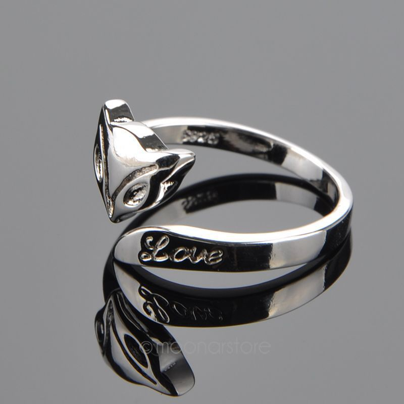 Women Adjustable Fashion Stylish Fire Fox Love Silver Plated Ring ...