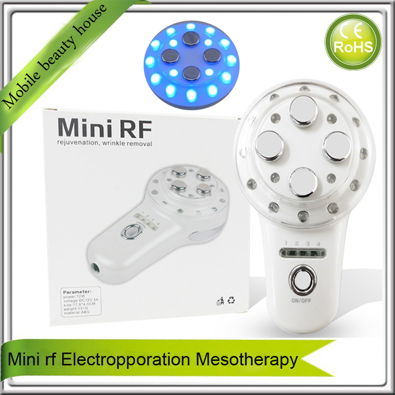 Mini Handheld Portable rf Radio Frequency Collagen Stimulation Led Light Photon Therapy Facial Massager For Skin Rejuvenation mini portable usb rechargeable ems rf radio frequency skin stimulation lifting tightening led photon rejuvenation beauty device