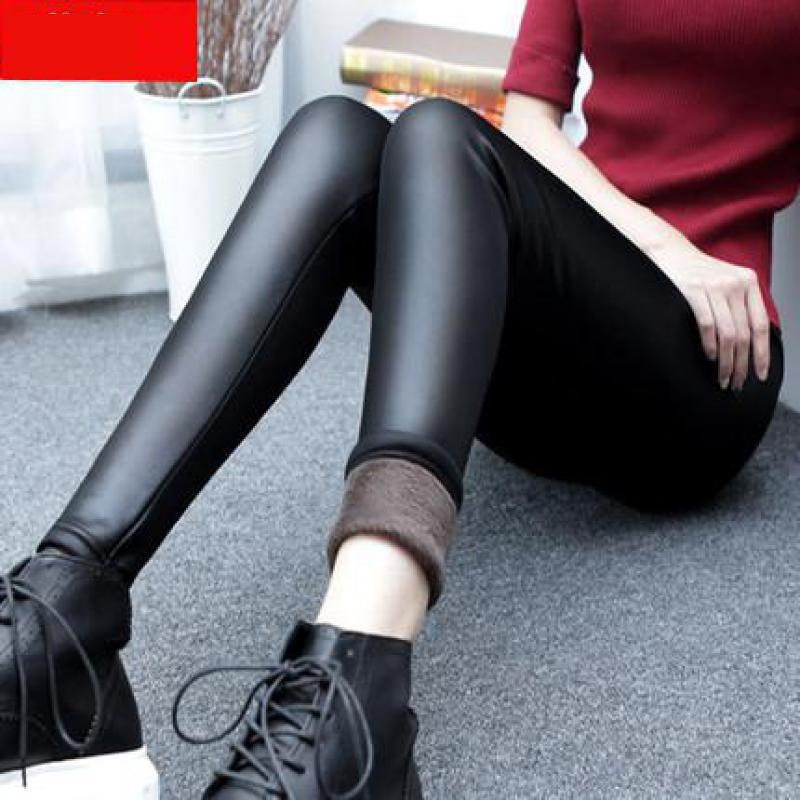 2019 Spring New Arrival Ladies Cashmere Leather   Leggings   With Thickened Outer Wear Big Pants Elastic Thermal Free Shipping
